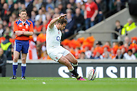 Danny Cipriani of England takes a conversion kick during the match between England and Barbarians at Twickenham Stadium on Sunday 31st May 2015 (Photo by Rob Munro)