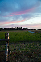 Pink tinged clouds float over a rustic fence post and path at Half Moon Bay's Bluff Top Coastal Park.
