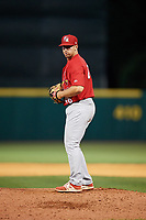 Palm Beach Cardinals relief pitcher Paul Balestrieri (46) gets ready to deliver a pitch during a game against the Florida Fire Frogs on May 1, 2018 at Osceola County Stadium in Kissimmee, Florida.  Florida defeated Palm Beach 3-2.  (Mike Janes/Four Seam Images)