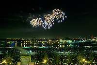 May 1992 File Photo - Montreal (Qc) CANADA - Ceremonies of Montreal 350th anniversary :   fireworks<br />  :