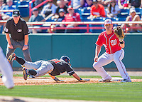 7 March 2016: Washington Nationals first baseman Tyler Moore catches a pickoff attempt to get Ichiro Suzuki off base during a Spring Training pre-season game against the Miami Marlins at Space Coast Stadium in Viera, Florida. The Nationals defeated the Marlins 7-4 in Grapefruit League play. Mandatory Credit: Ed Wolfstein Photo *** RAW (NEF) Image File Available ***