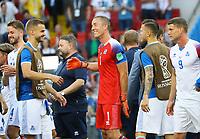 Jubel um Torwart Hannes Halldorsson (Island, Iceland) - 16.06.2018: Argentinien vs. Island, Spartak Stadium Moskau