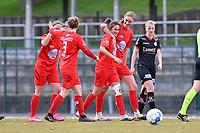 Kenza Vrithof (9) of Woluwe celebrating her 2nd goal with her teammates  pictured during a female soccer game between FC Femina White Star Woluwe and SV Zulte Waregem on the fifth matchday of play off 2 in the 2020 - 2021 season of Belgian Scooore Womens Super League , Saturday 8 th of May 2021  in Woluwe , Belgium . PHOTO SPORTPIX.BE   SPP   DAVID CATRY