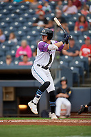 """Akron RubberDucks Nolan Jones (17) at bat during an Eastern League game against the Erie SeaWolves on August 30, 2019 at Canal Park in Akron, Ohio.  Akron wore special jerseys with the slogan """"Fight Like a Kid"""" during the game for Akron Children's Hospital Home Run for Life event, the design was created by 11 year old Macy Carmichael.  Erie defeated Akron 3-2.  (Mike Janes/Four Seam Images)"""