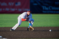 Auburn Doubledays third baseman Jack Dunn (1) fields a ground ball during a NY-Penn League game against the West Virginia Black Bears on August 23, 2019 at Falcon Park in Auburn, New York.  West Virginia defeated Auburn 8-1, the first game of a doubleheader.  (Mike Janes/Four Seam Images)