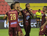 IBAGUE -COLOMBIA, 7-11-2020:Carlos Robles de Deportes Tolima celebra después de anotar el primer gol de su equipo durante el partido entre Deportes Tolima y Boyacá Chicó por la fecha 18 de la Liga BetPlay DIMAYOR I 2020 jugado en el estadio Estadio Manuel Murillo Toro de la ciudad de Ibague. / Carlos Robles of Deportes Tolima celebrates after scoring the first goal of his team during match between Deportes Tolima and Boyaca Chico for the date 18 BetPlay DIMAYOR League I 2020 played at Manuel Murillo Toro stadium in Ibague  city. VizzorImage/  Juan Torres / Contribuidor