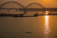 The Bridge and Pagoda on the Ayeyarwaddy river bank near Sagaing, Mandalay Myanmar/Burma