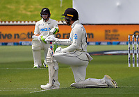 NZ's Tom Latham (left) and Tom Blundell take a knee in support oif the Black Lives Matter movement during day one of the International Test Cricket match between the New Zealand Black Caps and West Indies at the Basin Reserve in Wellington, New Zealand on Friday, 11 December 2020. Photo: Dave Lintott / lintottphoto.co.nz