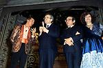 GIULIO ANDREOTTI CON PIPPO FRANCO, ORESTE LIONELLO E LEO GULLOTTA AL BAGAGLINO  ROMA 1985