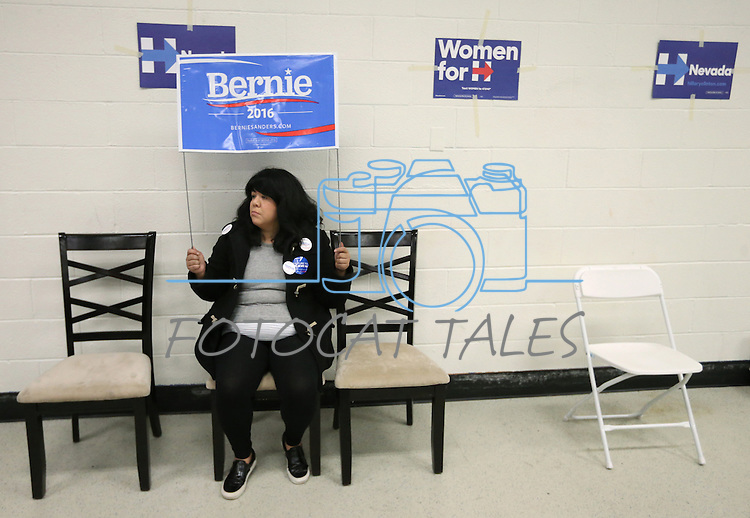 Volunteer Michelle Castillo, of Silicon Valley, watches the Democratic Caucus at Libby Booth Elementary School, in Reno, Nev. on Saturday, Feb. 20, 2016. Cathleen Allison/Las Vegas Review-Journal