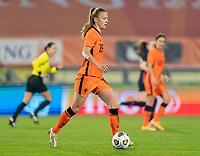 BREDA, NETHERLANDS - NOVEMBER 27: Lynn Wilms #15 of the Netherlands dribbles during a game between Netherlands and USWNT at Rat Verlegh Stadion on November 27, 2020 in Breda, Netherlands.