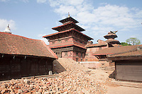 Destroyed structures of Pathan Dorbar Square in Kathmandu, Nepal.