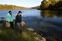 Regan Freeman (left), a junior at the University of Arkansas from Russellville, and Dominique Savage, a junior from Tulsa, Okla., walk the shoreline Saturday, Oct. 17, 2020, while picking up litter at Lake Sequoyah in Fayetteville. The two are members of the Arkansas Alpha Chapter of Tau Beta Pi, an engineering honor society, and were taking part in a cleanup of the lake with other members as a service project. Visit nwaonline.com/201018Daily/ for today's photo gallery. <br /> (NWA Democrat-Gazette/Andy Shupe)