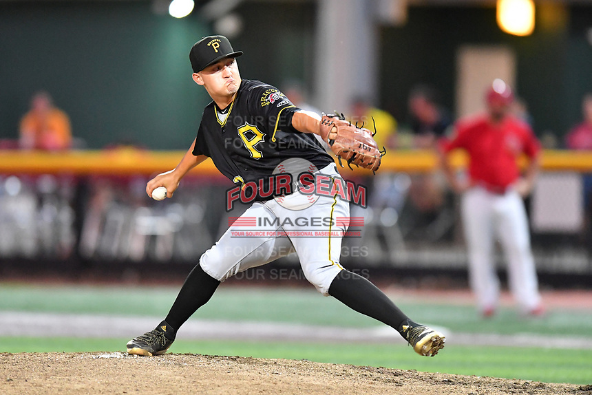 Bristol Pirates pitcher Ryan Troutman (17) delivers a pitch during game two of the Appalachian League, West Division Playoffs against the Johnson City Cardinals at TVA Credit Union Ballpark on August 31, 2019 in Johnson City, Tennessee. The Cardinals defeated the Pirates 7-4 to even the series at 1-1. (Tony Farlow/Four Seam Images)