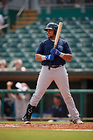 Mobile BayBears Jhoan Urena (14) at bat during a Southern League game against the Montgomery Biscuits on May 2, 2019 at Riverwalk Stadium in Montgomery, Alabama.  Mobile defeated Montgomery 3-1.  (Mike Janes/Four Seam Images)