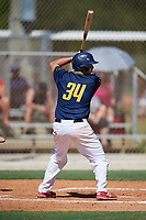 James Crooks during the WWBA World Championship at the Roger Dean Complex on October 18, 2018 in Jupiter, Florida.  James Crooks is a catcher from Euless, Texas who attends Trinity High School.  (Mike Janes/Four Seam Images)