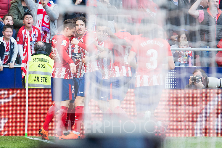 Atletico de Madrid Kevin Gameiro, Filipe Luis and Sime Vrsaljko celebrating a goal during La Liga match between Atletico de Madrid and Athletic Club and Wanda Metropolitano in Madrid , Spain. February 18, 2018. (ALTERPHOTOS/Borja B.Hojas)