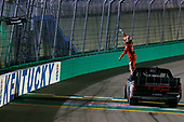 NASCAR Camping World Truck Series<br /> Buckle Up In Your Truck 225<br /> Kentucky Speedway, Sparta, KY USA<br /> Friday 7 July 2017<br /> Christopher Bell, Toyota Toyota Tundra celebrates his win<br /> World Copyright: Russell LaBounty<br /> LAT Images
