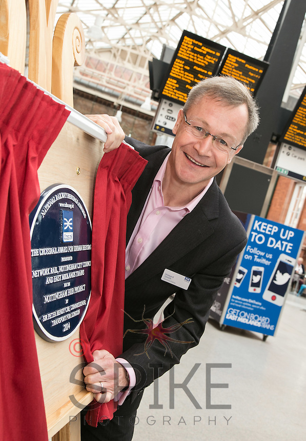 Pictured at the unveiling of The Crossrail Award for Urban Heritage at Nottingham Station is Howard Smith, Operations Director for Crossrail