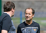 St Johnstone players back for the first day of training at McDiarmid Park in preparation for the 2019-2020 season…25.06.19<br />Assistant manager Alex Cleland talks with manager Tommy Wright<br />Picture by Graeme Hart.<br />Copyright Perthshire Picture Agency<br />Tel: 01738 623350  Mobile: 07990 594431