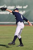 Eugene Emeralds pitcher Cody Hebner #2 warms up before pitching  against the Salem-Keizer Valcanoes at Volcanoes Stadium on August 9, 2011 in Salem-Keizer,Oregon. Eugene defeated Salem-Keizer 13-7.(Larry Goren/Four Seam Images)