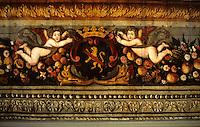 France/15/Cantal/Polminhac: Château de Pesteils - Salle d'Icare - Détail plafond peint