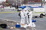 © Joel Goodman - 07973 332324 . 27/12/2011 . Salford , UK . Police forensic scenes of crime examiners work at the scene of the murder of Anuj Bidve on Ordsall Lane . Bidve was shot and killed by Kiaran Stapleton on 26 December 2011 . Photo credit: Joel Goodman