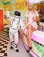 """NO REPRO FEE. 26/5/2011. EDDIE ROCKET'S STILLORGAN TAKES OFF WITH 10 NEW JOBS.  Model Eva G is pictured in the new Eddie Rocket's Shake Shop. The design seeks to recall the vintage milkshake bars from 1950's America and re-imagine them for the 21st century. The new look aims to appeal to both young and old with a quirky and bold colour scheme and a concept of make-your-own milkshakes, based on the tag line """"You make it...We shake it!"""". Eddie Rocket's City Diner in the Stillorgan Shopping Centre in south Dublin has re-opened after an exciting re-vamp and the addition of a Shake Shop. Ten new jobs have been created with the Diner's re-launch bringing the total working in Eddie Rocket's Stillorgan to 30. Picture James Horan/Collins Photos"""