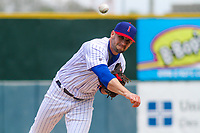 Iowa Cubs pitcher Matt Carasiti (11) delivers a pitch during a Pacific Coast League game against the San Antonio Missions on May 2, 2019 at Principal Park in Des Moines, Iowa. Iowa defeated San Antonio 8-6. (Brad Krause/Four Seam Images)