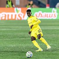 FOXBOROUGH, MA - OCTOBER 3: Jalil Anibaba #3 of Nashville SC passes the ball during a game between Nashville SC and New England Revolution at Gillette Stadium on October 3, 2020 in Foxborough, Massachusetts.