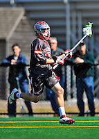 17 March 2012: Sacred Heart University Pioneer Midfielder Tim Caton, a Sophomore from East Rochester, NY, in action against the University of Vermont Catamounts at Virtue Field in Burlington, Vermont. The visiting Pioneers rallied to tie the score at 11 with five unanswered goals, dominating the 4th period. However the Cats scored with only 10 seconds remaining in the game to defeat the Pioneers 12-11 in their non-conference matchup. Mandatory Credit: Ed Wolfstein Photo