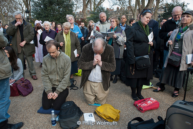 Supporters of anti-choice group 40 Days for Life hold a prayer meeting outside a British Pregnancy Advisory Service  clinic in Bloomsbury, London, where they have been conducting a daily picket during Lent.