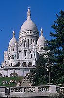 A view of the Sacre Coeur in Paris taken on a cloudless summer's day