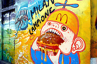 "- murale contro McDonalds nei pressi della Darsena a Milano....- graffiti against McDonalds near the ""Darsena"" in Milan"