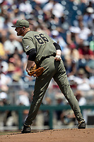 Vanderbilt Commodores pitcher Drake Fellows (66) looks to his catcher for the sign during Game 3 of the NCAA College World Series against the Louisville Cardinals on June 16, 2019 at TD Ameritrade Park in Omaha, Nebraska. Vanderbilt defeated Louisville 3-1. (Andrew Woolley/Four Seam Images)