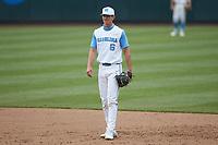 North Carolina Tar Heels first baseman Tyler Causey (6) on defense against the North Carolina State Wolfpack at Boshamer Stadium on March 27, 2021 in Chapel Hill, North Carolina. (Brian Westerholt/Four Seam Images)