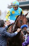 October 31, 2015 : American Pharoah, ridden by Victor Espinoza, with assistant trainer Jimmy Barnes (left) after winning the Breeders' Cup Classic (Grade I) in Lexington, Kentucky on November 1, 2015.  Candice Chavez/ESW/CSM