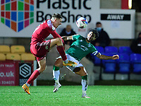 Lincoln City's Liam Bridcutt battles with Accrington Stanley's Colby Bishop<br /> <br /> Photographer Andrew Vaughan/CameraSport<br /> <br /> The EFL Sky Bet League One - Accrington Stanley v Lincoln City - Saturday 21st November 2020 - Crown Ground - Accrington<br /> <br /> World Copyright © 2020 CameraSport. All rights reserved. 43 Linden Ave. Countesthorpe. Leicester. England. LE8 5PG - Tel: +44 (0) 116 277 4147 - admin@camerasport.com - www.camerasport.com