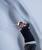 17.10.2014. The London Golf Club, Ash, England. The Volvo World Match Play Golf Championship.  Day 3 group stage matches.  Alexander Levy [FRA] tee shot eighth hole.