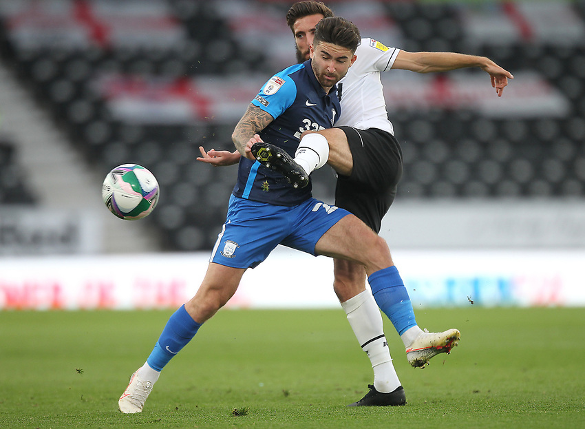 Preston North End's Sean Maguire battles with  Derby County's Graeme Shinnie<br /> <br /> Photographer Mick Walker/CameraSport<br /> <br /> Carabao Cup Second Round Northern Section - Derby County v Preston North End - Tuesday 15th September 2020 - Pride Park Stadium - Derby<br />  <br /> World Copyright © 2020 CameraSport. All rights reserved. 43 Linden Ave. Countesthorpe. Leicester. England. LE8 5PG - Tel: +44 (0) 116 277 4147 - admin@camerasport.com - www.camerasport.com