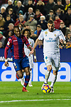 Karim Benzema of Real Madrid (R) fights for the ball with Cheik Doukoure of Levante UD (L) during the La Liga 2017-18 match between Levante UD and Real Madrid at Estadio Ciutat de Valencia on 03 February 2018 in Valencia, Spain. Photo by Maria Jose Segovia Carmona / Power Sport Images