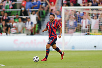 AUSTIN, TX - JULY 29: Cristian Roldan #10 of the United States during a game between Qatar and USMNT at Q2 Stadium on July 29, 2021 in Austin, Texas.