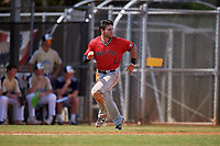 Ball State Cardinals second baseman Noah Navarro (8) running the bases during a game against the Mount St. Mary's Mountaineers on March 9, 2019 at North Charlotte Regional Park in Port Charlotte, Florida.  Ball State defeated Mount St. Mary's 12-9.  (Mike Janes/Four Seam Images)
