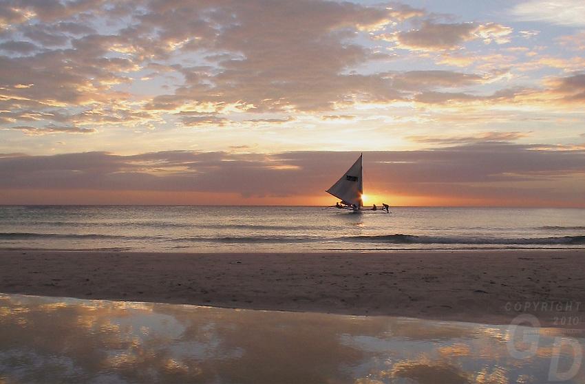 Beach scene during sunset at Boracay Island,Philippines