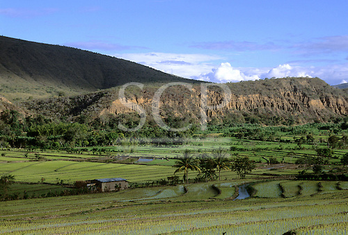 San Ignacio, Peru. Rocky outcrop over fertile fields on agricultural terraces in northern Peru.