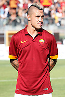 "Calcio, amichevole Roma vs Under 23 Indonesia. Rieti, stadio ""Manlio Scopigno"", 18 luglio 2014. <br /> AS Roma midfielder Radja Nainggolan, of Belgium, looks on prior to the start of the friendly football match between AS Roma and Under 23 Indonesia at ""Manlio Scopigno"" stadium in Rieti, Italy, 18 July 2014.<br /> UPDATE IMAGES PRESS/Isabella Bonotto"