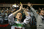 Nottingham Forest 2 Yeovil Town 5, 18/05/2007. City Ground, League One Play Off Semi Final 2nd Leg. Victorious Yeovil Town fans celebrating their club's League One play-off semi-final match against Nottingham Forest at the City Ground. Forest had won the first leg by 2 goals to nil at Yeovil the previous week but were defeated by 5 goals to 2 after extra time and missed out on the play-off final at Wembley. Yeovil went on to play Blackpool in the final for the one remaining promotion place to the Championship. Photo by Colin McPherson.