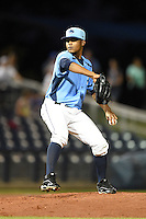 Charlotte Stone Crabs pitcher Jose Alberto Molina (25) delivers a pitch during a game against the Bradenton Marauders on April 4, 2014 at Charlotte Sports Park in Port Charlotte, Florida.  Bradenton defeated Charlotte 9-1.  (Mike Janes/Four Seam Images)