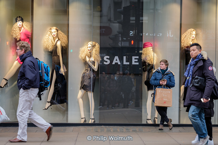 Reserved end of year sale, Oxford Street, London.  Reserved, a Polish fashion chain, signed a £42m lease for the old BHS flagship department store premises in 2017.
