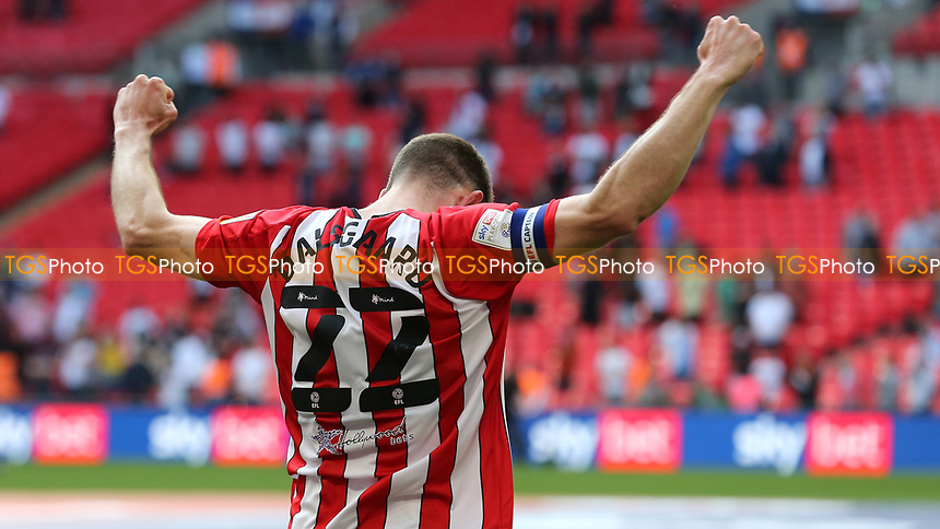 Brentford's Henrik Dalsgaard celebrates their victory at the final whistle during Brentford vs Swansea City, Sky Bet EFL Championship Play-Off Final Football at Wembley Stadium on 29th May 2021
